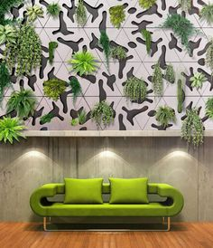 Oh how j'adore the verdant marriage of design and horticulture in French designer Benjamin Pawlica's Deltaflore plantable concrete green wall tiles.  #verticalgardens interior colors, interior design, living rooms, home interiors, green, design interiors, wallpapers, couches, interior lighting