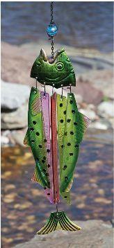 Evergreen Glass and Metal Fish Windchime