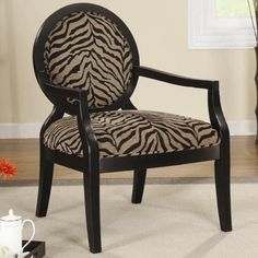 Coaster Accent Seating Louis Style Animal Print Accent Chair with Exposed Wood Arms - Coaster Fine Furniture