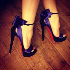 Purple satin bow Louboutins