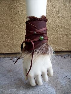 Wildwood Fur Cuff  tribal fusion belly by ArchaicLeatherworks
