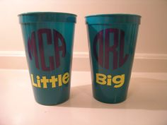 Sorority Big and Little Cups Set of 2 by CutitOutVinyl on Etsy, $6.00