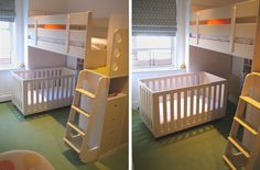 Loft bed with room for a crib.