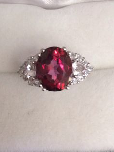 Stunning 4 Carat + Red Peony Topaz Faceted Cabochon Ring with Triangle Morganite and Round Zircon Sterling Silver 925