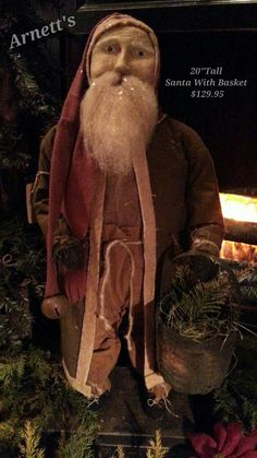 Arnett's Primitive Santa With Basket