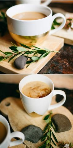 Cute coffee cup DIY via Poppytalk. Tape, then gold spray paint a simple white cup--the options are endless.