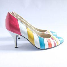 Vintage 80s 90s Pastel Candy Multicolor Pump Heels on Etsy, £11.67