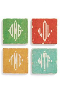 marbl coaster, monogram marbl