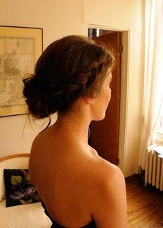 side wedding bun and french braid!