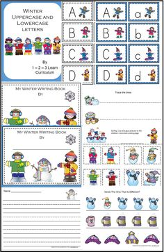 I have added winter alphabet cards - 2 different backgrounds, and winter briting pages. You can make these into books for the children or print up sheets and place in your writing area. Comes in both color and B & W. Thank you for viwing and repinning. Jean 1 - 2 - 3 Learn Curriculum - a members curriculum web site for only $30. a year.