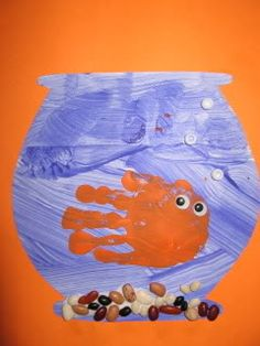 This would be cute to do while the grand-kids are here. Let them paint in their fishbowl and glue on their own gravel.