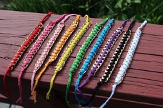 DIY: chain friendship bracelets; can be made with DK or sportweight yarns - get rid of some of those scraps!