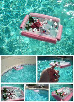 DIY Pool Noodle Floating Drink Cooler