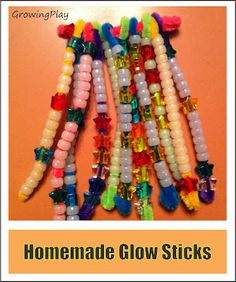 Glow sticks...fine motor skills and glow in the dark!!  What more could a TOT ask for?