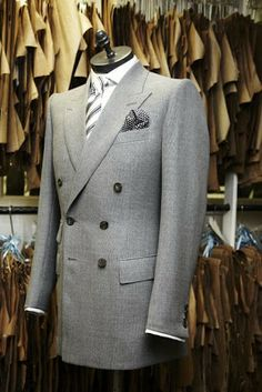 Bespoke double breasted grey blazer