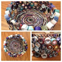 Recycled Magazine Bowl made from magazine pages..