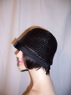 1920's Shiny Variegated Black Straw Cloche with Grosgrain Bow at Center