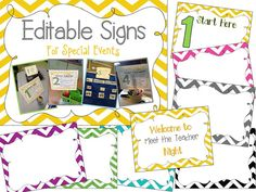 Back To School--meet the teacher night signs for directing parents around the room