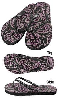 Paisley Pink Ribbon Flip Flops at The Breast Cancer Site