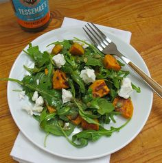 Roasted Sweet Potato Salad wiith Arugula & Goat Cheese by tessemaes #Salad #Arugula #Sweet_Potato #Goat_Cheese