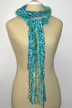 Teal Mermaid braids Gypsy Fringe Scarf skinny by PurpleSageDesignz, $18.00