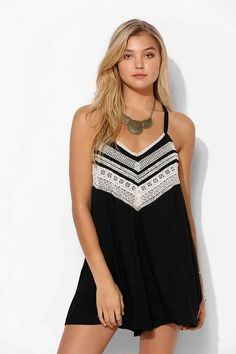Ecote Gauze Embroidered Drapey Romper - Urban Outfitters
