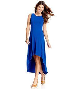 New #cobalt Hi-Lo #maxi #dress - Available at #Macys! #blue #spring #maxidress #KarenKane