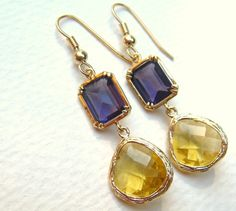 LSU Tiger earrings  Purple and Yellow Gold  by ChloeBoutique78, $25.00  so cute for LSU games