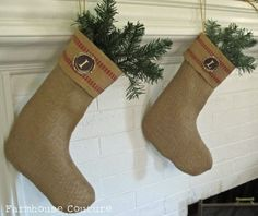 Sew Country Chick: fashion sewing and DIY: Burlap Christmas Stocking: Ballard Designs Knockoff
