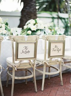 #signs, #chair  Photography: Patrick Moyer - www.patmoyerweddings.com  Read More: http://www.stylemepretty.com/2014/04/17/classic-elegance-inspiration-at-the-santa-barbara-club/