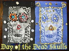 Day of the Dead Skulls- styrofoam printing and then embellishing