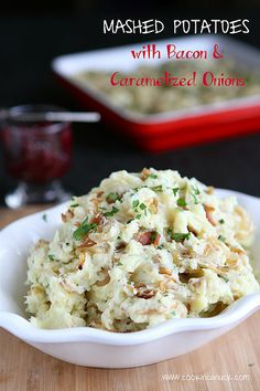 Mashed Potatoes with Bacon & Caramelized Onions...Lighter than you think! | cookincanuck.com #Thanksgiving