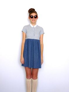 70s Peter Pan Collar Chambray Dress