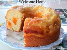 Old Fashioned Vanilla Peach Cake