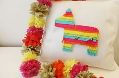 Cinco de Mayo felt pinata pillow and tissue flower garland — Now That's Pretty