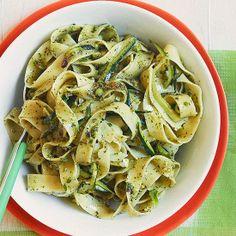 zucchini pasta, mint pesto