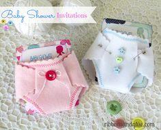 Baby Shower DIY Felt Diaper Invitations. {ribbonsandglue.com}