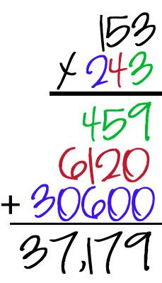 Teaching 3-digit multiplication using colors.