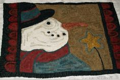 Snowman hooked rug d