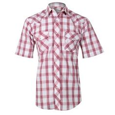 Roper Men's Plaid Snap Short Sleeve Western Shirt