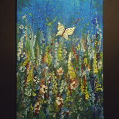 Acrylic Fantasy butterflies and flowers - Folksy