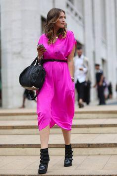 fashion weeks, pink street, color, dresses, black boots, street styles, street style fashion, new york fashion, pink fashion