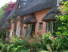 Peach Thatched English Cottage