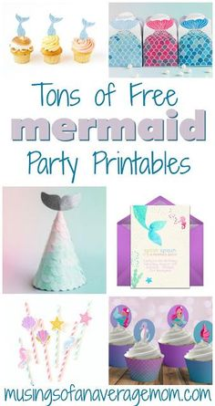 Tons of free mermaid birthday party printables including invitations, cupcake toppers, decorations, activities, party favors and more!