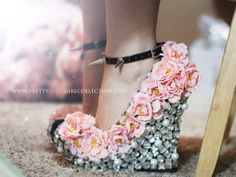 Floral Rhinestone Studded  Wedge Shoes 5 1/2 by PrettyRockGirl, $259.00