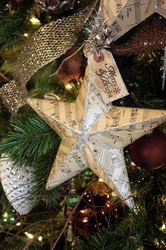 Christmas Decor: DIY Decoupaged Sheet Music Star with Full Tutorial. Love this!