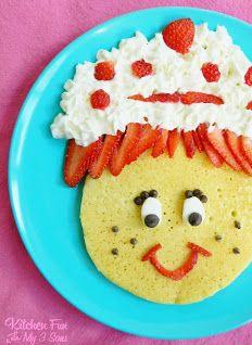 kid food, fun food, kitchen fun, strawberries, shortcak pancak, pancakes, strawberry shortcake, son, strawberri shortcak