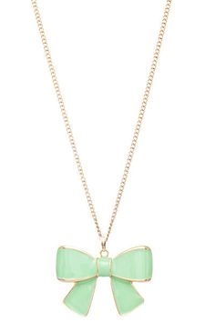 Mint bow necklace.