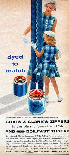 A fun blue plaid filled ad from 1958 for Coats & Clark's Zippers dyed to match.