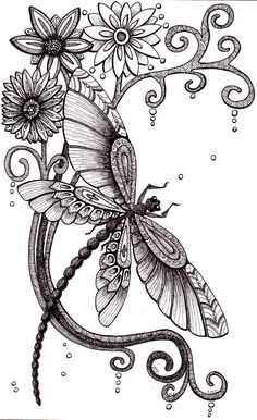 Fly Away. Beautiful and original whimsical abstract psychedelic stylised Ink drawing illustration dragonfly flower swirls